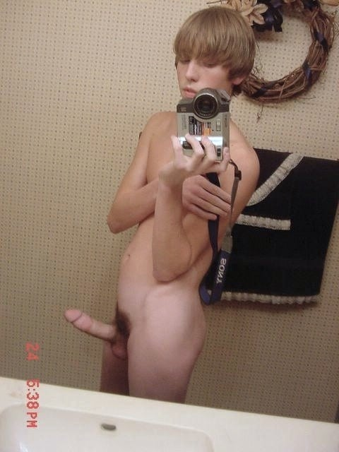 Cute Boy Taking Pictures Of His Hard Cock