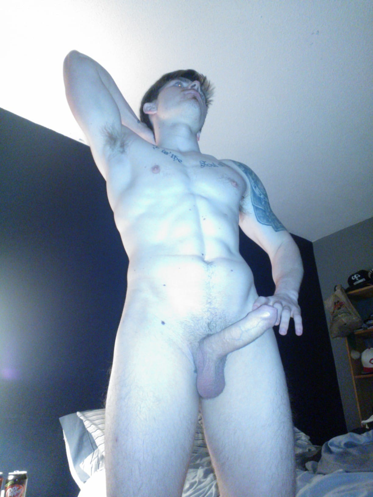 Nude Muscle Boy Showing Off His Body